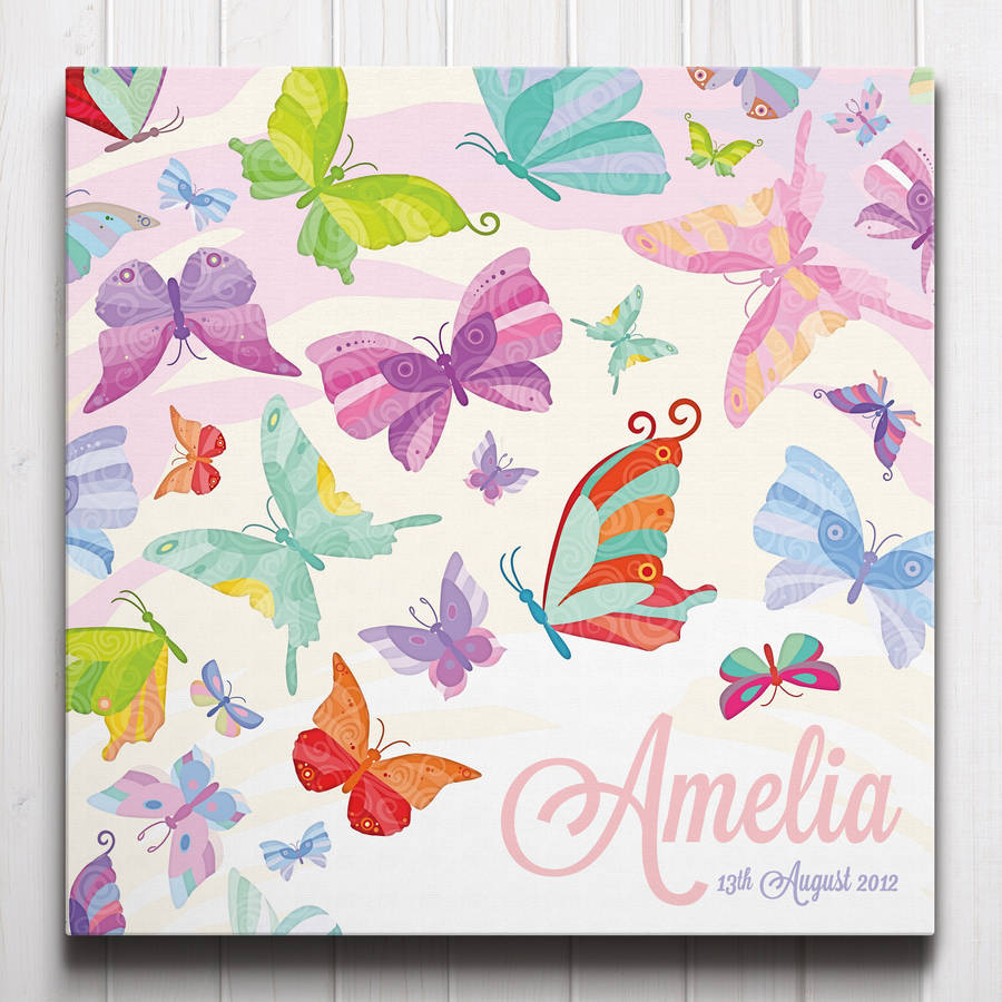 Flutter of Butterflies Personalised Canvas