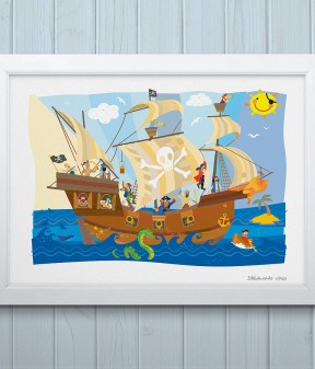 Jolly Roger Pirate Ship Print
