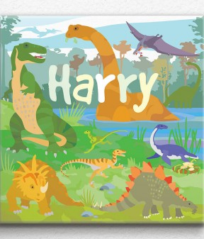 Land of Dinosaurs Personalised Canvas