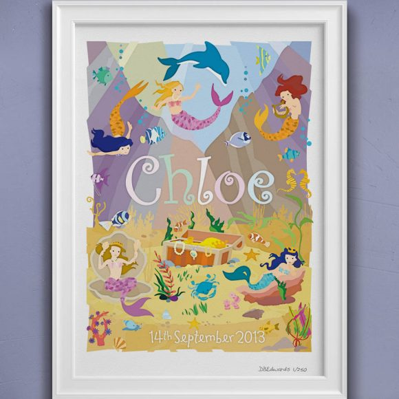 Mermaid Lagoon Personalised Print