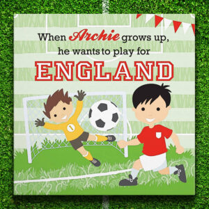 Personalised Little Footballer Canvas