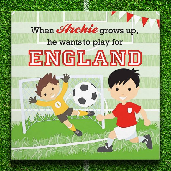 Personalised Little Footballer Canvas