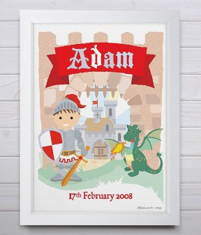 Personalised Little Knight Print