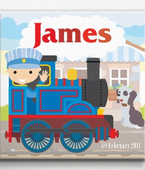 Personalised Little Train Canvas