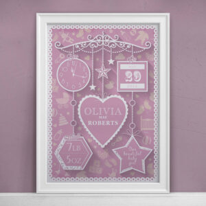 Personalised New Baby Print Pink