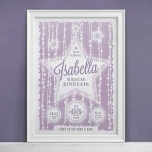 Personalised New Baby Star Print