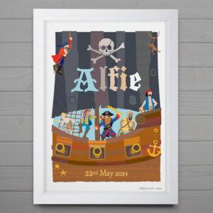 Pirate Ship Personalised Print