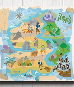 Treasure Island Pirate Map Canvas