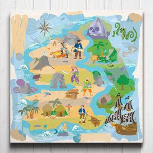 Treasure Island Pirate Map Canvas