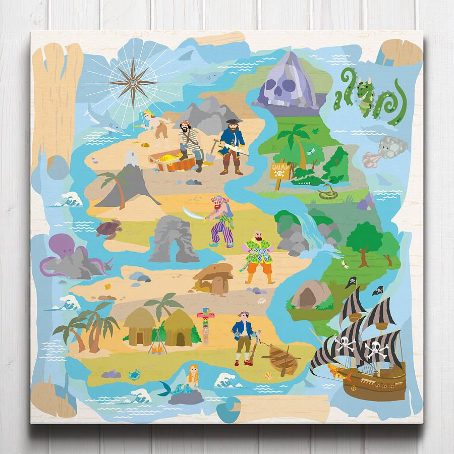 Treasure Island Pirate Map Canvas From Art Adventure
