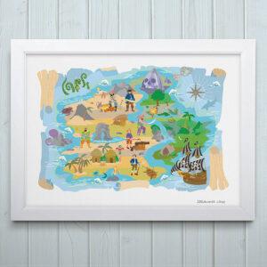 Treasure Island Pirate Map Print