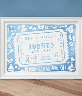 Admit One Personalised New Baby Print