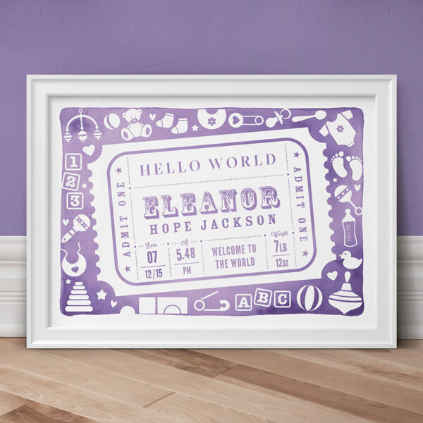 Admit One Personalised New Baby Print - Lilac