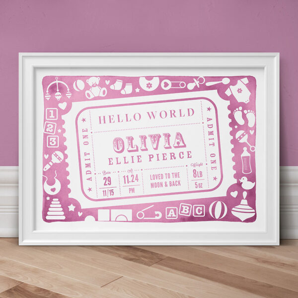 Admit One Personalised New Baby Print - Pink
