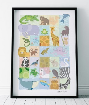 Animal ABC Nursery Print