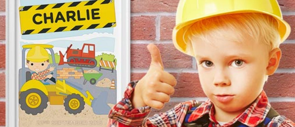 Personalised Little Digger Print Thumbs Up