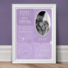 Personalised New Baby Photo Print - Lilac