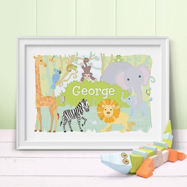 Jungle Animals Personalised Print