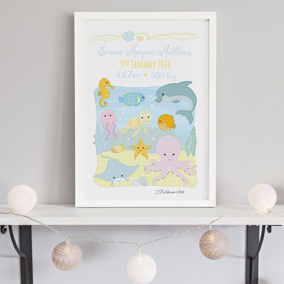 Ocean Animals Birth Print