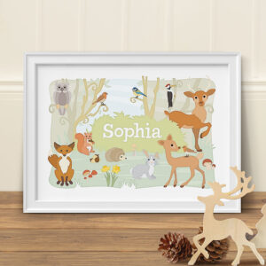 Woodland Animals Personalised Print