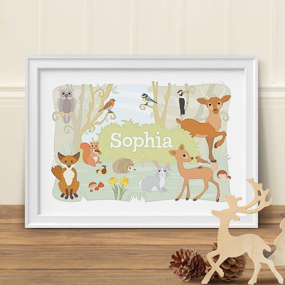 Woodland Animals Personalised Print