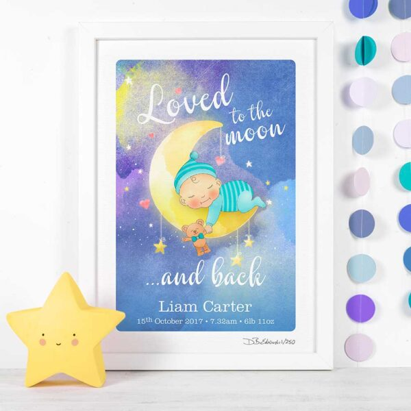 Loved to the Moon and Back Personalised Print