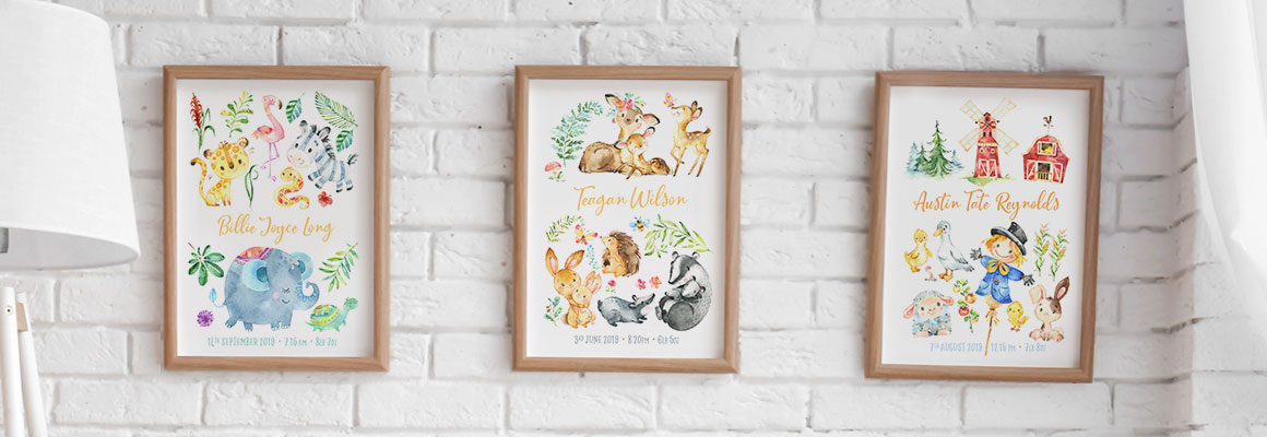 Personalised Forest Animal Name Print Picture Christening Birth Gift Nursery Art