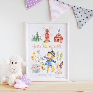 Farm Friends Personalised Watercolour Print