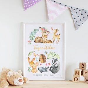 Forest Friends Personalised Watercolour Print