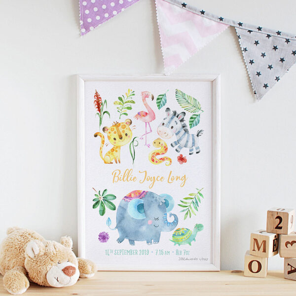Jungle Friends Personalised Watercolour Print
